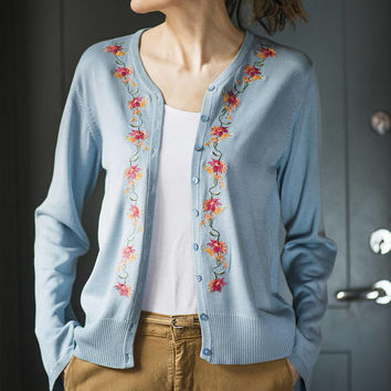 Cardigan sweater for women floral. Baby blue Cardigan silk cotton size XL. Floral Embroidered Knit Sweater Wide Long Sleeve. Grandma Jumper