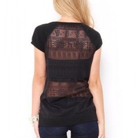 Crochet Back Raglan Top - JUST ARRIVED