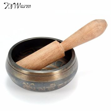 KiWarm Vintage Tibetan Buddhist Brass Chakra Singing Bowl Yoga Meditation Healing Wood Hammer for Home Garden Room Decoration