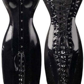 Vocole Sexy Steampunk Corset Dress Clubwear Wetlook Vinyl PVC Dress Gothic Night Club DS Faux Leather Dresses Black Red Women