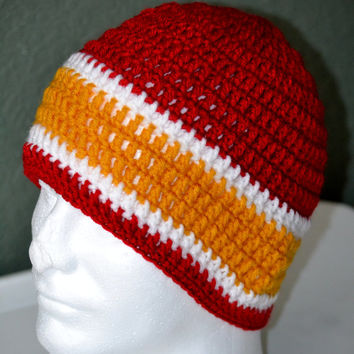 KC Chiefs Crochet Skull cap. KC Chiefs Beanie. Kansas City Chiefs Fan Hat. Sports Beanie. Football Skull cap