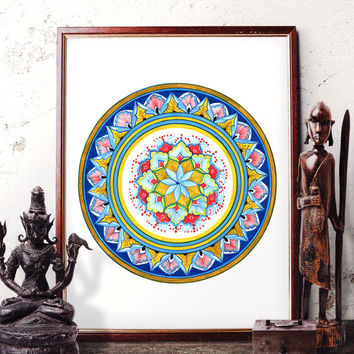 Traditional Mandala Flower Watercolor Art, Indian Floral Ornament Bohemian Art, Mandala Hippie Home Decor Prints and Original Painting 055