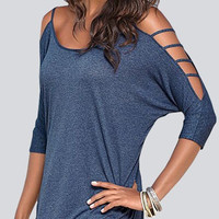 Blue Cold Shoulder T-shirt with Strappy Detail