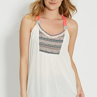 tank with embroidery and neon straps | maurices