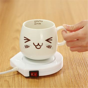 220v White Electric Cup Warmer Powered Drink Cup Warmer Pad Coffee Tea Milk Mug Heater Kitchen Accessories