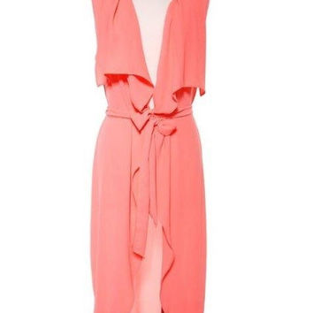 Neon Coral Sleeveless Duster
