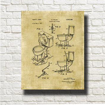 Toilet Seat Lifter Patent Print 1967 Art Illustration Printable Instant Download Poster UP0112bur