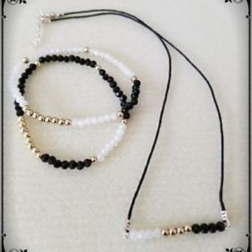 Black, White Crystal & Gold Cord Necklace Set