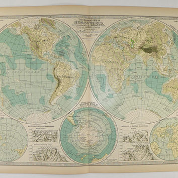 1899 Vintage World Map, Western Hemisphere, Eastern Hemisphere Map, South Pole, Antique Map of World Globe, Vintage Home Decor Gift Under 30