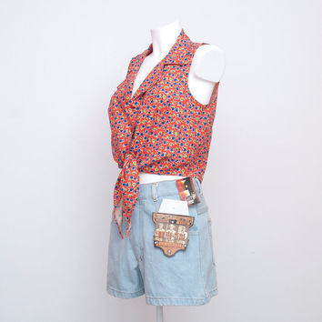 NOS vintage Floral  crop top tied shirt size M by blessthatdress