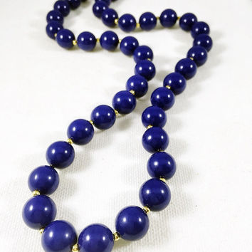 Navy and gold necklace, 1960s vintage necklace, navy blue plastic bead necklace, vintage costume jewelry, nautical style necklace