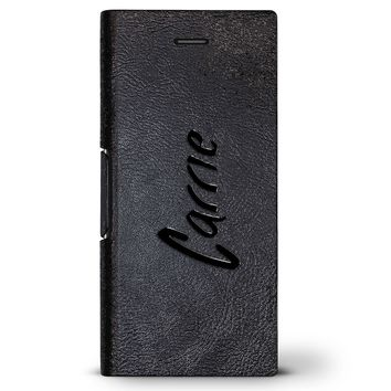 Carrie, Hand-Written First Name | Leather Series case for iPhone 8/7/6/6s in Hickory Black