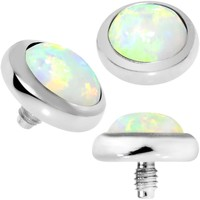 14 Gauge 5mm White Opal Stainless Steel Dermal Anchor Top