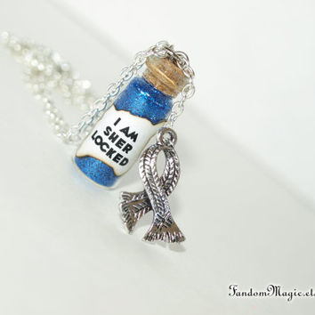 Sherlock Inspired, SHERlocked Magical Necklace with an Scarf Charm, BBC Television Show, by Fandom Magic