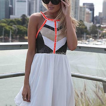 CAGE BACK SEQUIN JEWEL DRESS , DRESSES, TOPS, BOTTOMS, JACKETS & JUMPERS, ACCESSORIES, 50% OFF END OF YEAR SALE, PRE ORDER, NEW ARRIVALS, PLAYSUIT, COLOUR, GIFT VOUCHER,,White,Print,CUT OUT,Orange,Sequin,SLEEVELESS,MINI Australia, Queensland, Brisbane