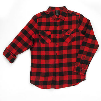 Young Mens Blue Gear Flannel Shirt - Black/Red
