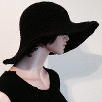Women's Black Cotton Summer Hat/ Crochet Cotton Sun Hat/ Women's Handmade Black Beach Hat