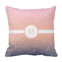 Colorful Glittery Monogram Pattern Throw Pillow