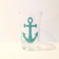 Anchor Shot Glass - Glitter Shot Glass - Glass 2 Ounce Shot Glass - Personalized Shot Glass - Teal - Aqua - Customizable