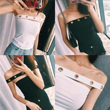 Hollow gold buckle wild personality strapless short paragraph Halter Bra Tops worn more