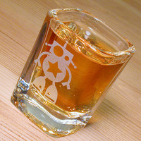 1 Robot Shot Glass - clear square etched glass