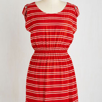 Americana Mid-length Short Sleeves A-line Chipper on the Clipper Dress