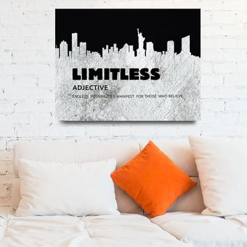 Limitless Motivational Framed Canvas Wall Art With New York Skyline Success