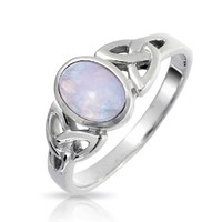 Bling Jewelry 925 Sterling Silver Celtic Triquetra Simulated Moonstone Knot Ring