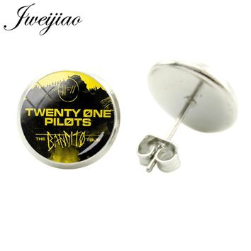 JWEIJIAO Trendy Twenty One Pilots Music Band Sign Symbol Stud Earrings Glass Cabochon Dome Earrings Hiphop/Rock Jewlery TO26