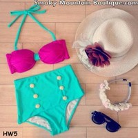 Vintage Retro High Waist Swimsuit Pink Top with Green Straps & Green Bottom - S/M HW5 - Smoky Mountain Boutique