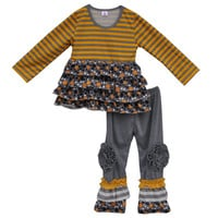 Fall Winter Girls Boutique Top and Pant Stripe Kids Outfits Ruffle Cotton Newborn Baby Clothes Suits Children Clothing Sets F047
