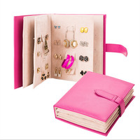 leather Stud Earrings collection book pattern  portable jewelry display creative jewelry storage box