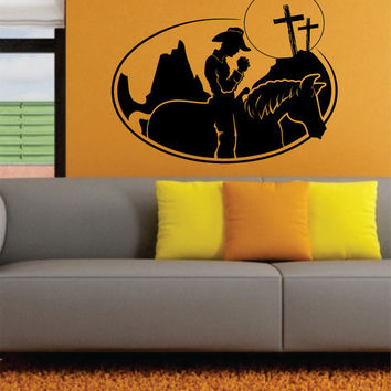 Cowboy and Horse Praying Design Decal Sticker Wall Vinyl Decor Art