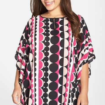 Plus Size Women's Vince Camuto 'Retro Dots' Keyhole Poncho Top,