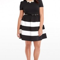 Plus Size Stripe Fit and Flare Dress | Fashion To Figure
