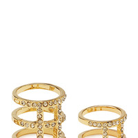 FOREVER 21 Caged Rhinestone Ring Set Gold/Clear