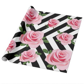 Pink Roses Wrapping Paper