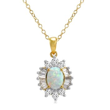 Yellow Gold Flashed Sterling Silver Created Opal and White Sapphire Pendant-Necklace