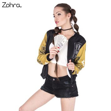 Women Bomber Jacket Gold Weed And Money Printing Fashion Sexy Basic Jacket