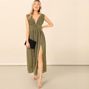 Glamorous Gold Plunging Neck Glitter Split Maxi Dress Sleeveless High Waist Elegant Deep V Neck Dresses