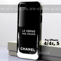 219 Back Satin, Le Vernis - Hard Cover, Nail Polish - For iPhone 4 / 4S, iPhone 5 - Black / White Case