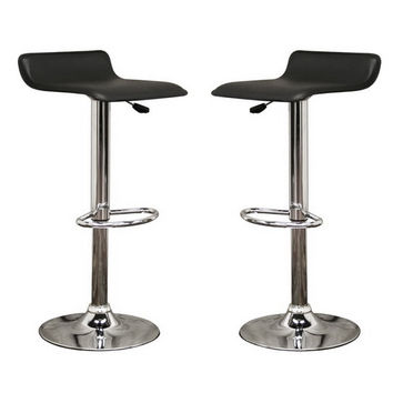 Baxton Studio Vita Faux Leather Modern Bar Stool Set Of 2 (Black)