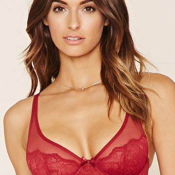 Semi-Sheer Lace Underwire Bra