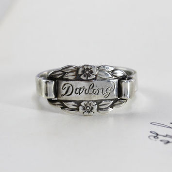 Sterling Signet Ring, Vintage Style Silver Engraved Darling Sweetheart Flower Friendship Wedding Bridesmaid Anniversary Gift Stacking Ring