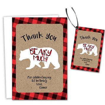 Little Bear Thank You Cards - Beary Much Red Flannel Party Tags - Lumberjack Birthday Party - Boys Party - Red Flannel - Plaid Kraft Cub