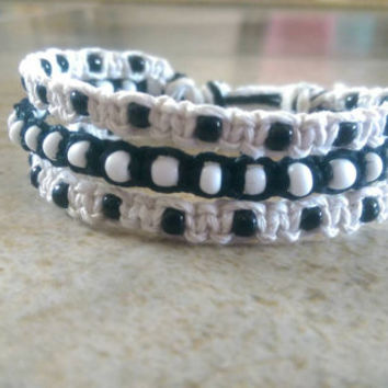 Black and White Bracelet, Hemp Bracelet, Triple Stack, Adjustable Bracelet, Beaded, Summer, Gift for Her, Free USA Shipping