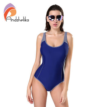 Andzhelika One Piece Swimsuit Plus Size Swimwear Women Solid Patchwork Swimwear Sexy Halter Summer Bathing Suit Monokini Swim