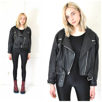 black leather MOTO jacket vintage 1980s 80s ROCK n ROLL motorcycle lace up leather coat medium os