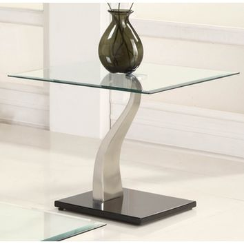 Homelegance Atkins Square Glass End Table in Chrome & Black Metal
