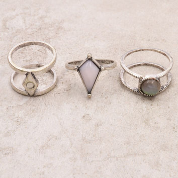 Vintage silver opal stone finger ring set for women girl nice gift
